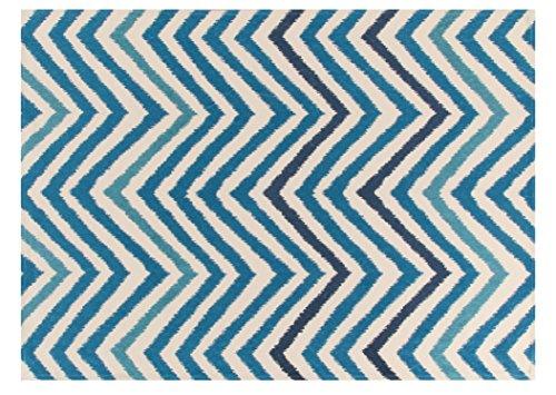Viva Ikat Tappeto, Cotone, Blu/Azzurro, 65x130x0.85 cm