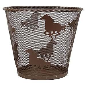 Metal horse western waste basket for Bathroom accessories baskets
