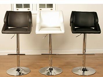 Patricia tapizado taburete de Bar–elevación de Gas taburete de Bar–acabado: marrón de piel sintética (conjunto de 2)–comedor–muebles de casa Bar