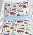 Bright Trucks Reversible Cot Duvet Cover and Pillowcase Set - 90 centimetres x 120 centimetres from Kids Club