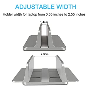 JARLINK Vertical Laptop Stand, Adjustable Laptop Holder Desktop Stand with Adjustable Dock Size (up to 17.3 inches) Compatible with All MacBook/Surface/Lenovo/Dell/Gaming Laptops (Gray) (Color: Gray, Tamaño: 1-pack)