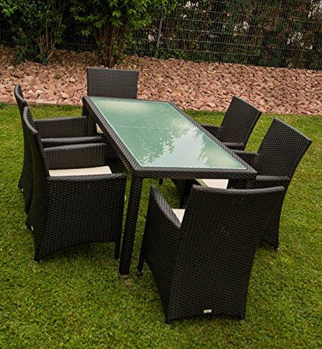 13tlg. Premium Rattan Sitzgruppe Garnitur Garten Möbel Tisch + Stuhl Schwarz jetzt bestellen