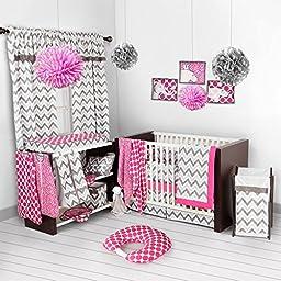 Bacati - Pink/grey Ikat Chevron Muslin 10 Pc Crib Set with Bumper Pad