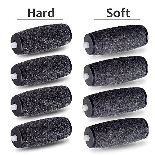 Testine rotanti di ricambio E-cron ® per levacalli macchina pedicure Scholl Velvet Smooth Diamond Express Pedi, MIX duro -soffice ruvido, 8 ricarica.