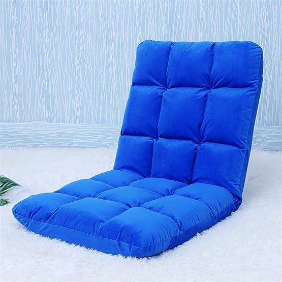 Lazy sofa Tatami Pieghevole Divano singolo divano Divano schienale Divano a pavimento 18 griglia , blue