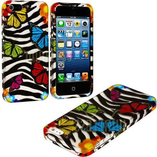 Mylife (Tm) Colorful Butterflies And Zebra Stripes Series (2 Piece Snap On) Hardshell Plates Case For The Iphone 5/5S (5G) 5Th Generation Touch Phone (Clip Fitted Front And Back Solid Cover Case + Rubberized Tough Armor Skin + Lifetime Warranty + Sealed I