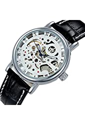 Suppion Luxury Mens Skeleton Mechanical Leather Band Wrist Watch Wristwatch Black
