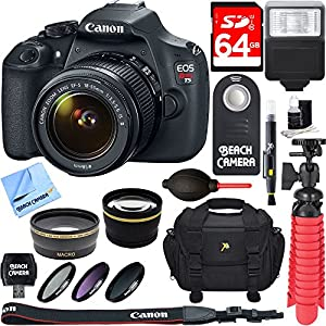 Canon EOS Rebel T5 18MP SLR Digital Camera & EF-S IS II Lens Kit + 64GB SDXC Memory + DSLR Photo Bag + Wide Angle Lens + 2x Telephoto Lens + Flash + Remote + More