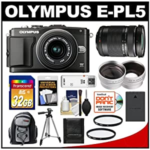 Olympus PEN E-PL5 Digital Camera Body 14-42mm II R Lens (Black/Black) with 40-150mm ED Lens + 32GB Card + Case + Battery + Tripod + Lens Set + 2 UV Filters + Accessory Kit