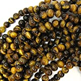 "8mm natural tiger eye round gemstone beads 15.5"" strand"