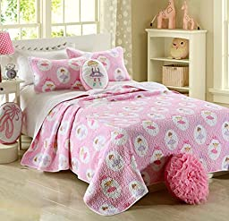 3-Piece Cartoon Girl Pink Polka Dot Cotton Bedspread Quilt Set Queen