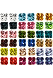 18 Mixed Color Wholesale Lot Cz Crystal Stainless Steel Earrings Studs. Nickel-free. Lead-free. 1 Carats Each Pair. 5mm Diameter