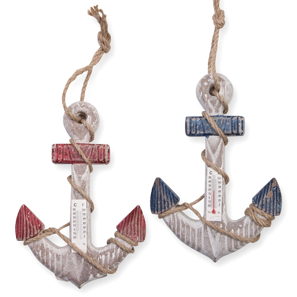 "2 Nautical Wall Decor, Hanging Anchors with Thermometer - 7.9"" Tall"
