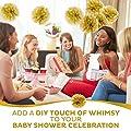 10pc Gold Tissue paper pom poms flower ball decorations kit - Size 8 10 Inch