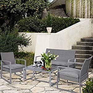 Giantex 4pc Patio Furniture Set Cushioned Outdoor Wicker Rattan Garden Lawn Sofa Seat