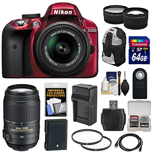 Nikon D3300 Digital SLR Camera & 18-55mm G VR DX II AF-S Zoom Lens (Red) with 55-300mm VR Lens + 64GB Card + Backpack + Battery & Charger + Tele/Wide Lens Kit