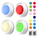 HONWELL16 Colors Changing LED Puck Lights Tap Lights Remote Controlled RGB Night Light Battery Operated Closet Lights for Bedroom Cabinet Counter Classroom Decorative Light-4PACK (Color: White, Tamaño: 16 colors)