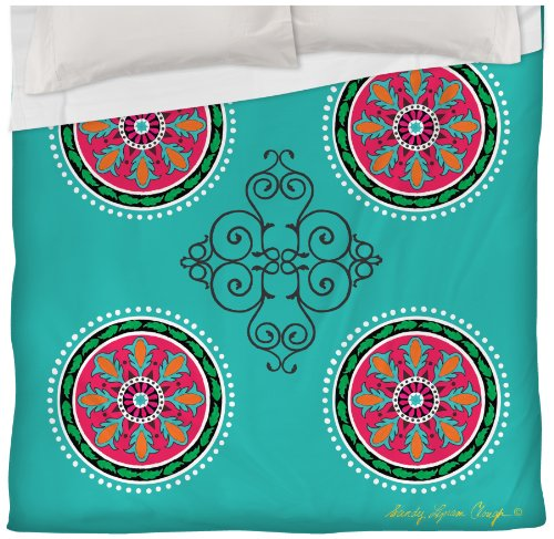 Thumbprintz Duvet Cover, Full/Queen, Turquoise Boho Medallion Pattern front-484262