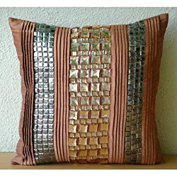 Crystalline - Decorative Pillow Covers - Silk Pillow Cover Embroidered Crystals & Sequins