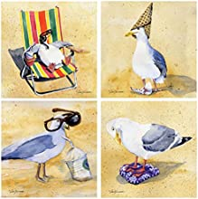 Thirstystone Stoneware Coaster Set Silly Seagulls