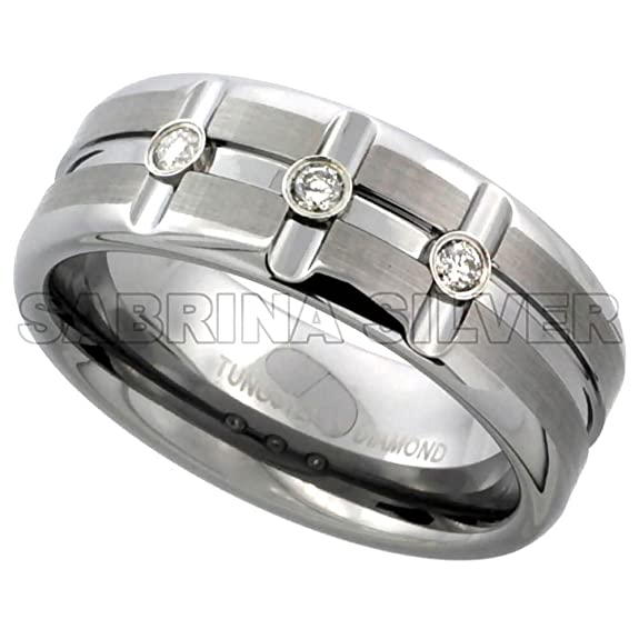 Revoni Tungsten Carbide 3-Stone Diamond 8 mm Wedding Band Ring 0.11 cttw Satin Finish Horizontal and Vertical Grooves, sizes P to Z