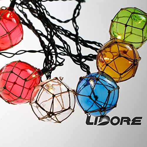 Blue Nautical String Lights : Lidore Nautical Fishing Floats Coastal Buoy Beach Style String Lights Set - Beachfront Decor