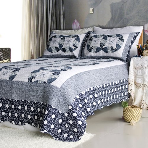 [Zahara] 100% Cotton 3PC Floral Vermicelli-Quilted Patchwork Quilt Set (Full/Queen Size)