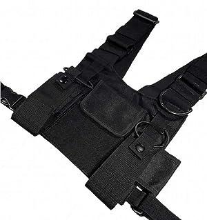 Croogo Universal Hands Free Radio Front Pack Pouch Hip hop Bag Chest Rig Vest Bag Harness Bag Rescue Bag (Color: Black, Tamaño: 11*7.8inch)