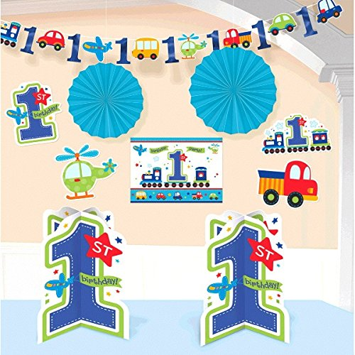 Amscan All Aboard Boy 1st Birthday Room Decorating Kit, Large, Blue