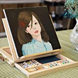 Display Artist Easel Adjustable Wood Desk Table Easel with Storage Drawer, Paint Palette, Premium Pine - Portable Wooden Artist Desktop, Board for Canvas, Painting, Drawing Sketching Book Stand (Color: Beech color)