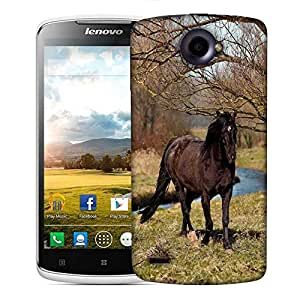 Snoogg Black Horse And Tree Designer Protective Phone Back Case Cover For Lenovo S920