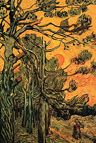 Walls 360 Peel & Stick Wall Decals: Pine Trees Against Red Sky With Setting Sun by Van Gogh (12 in x 18 in)