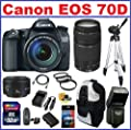 Canon EOS 70D DSLR Camera with 3 Canon Lenses Pro Pack: Includes - Canon EF-S 18-135mm f/3.5-5.6 IS STM Lens - Canon Zoom Telephoto EF 75-300mm III - Canon EF 50mm f1.8 II Autofocus Lens, Also Includes Deleuxe Backpack, Spare Battery & Travel Charger, 32G