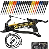 Crossbow Self-Cocking 80 LBS by KingsArchery® with Adjustable Sights, 3 Aluminium Arrow Bolts, Spare Crossbow String and Caps, and Bonus 24-pack of Colored PVC Arrow Bolts + KingsArchery® Warranty