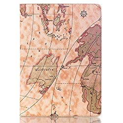 World Map Folio Cover Case with Stand for for Samsung Galaxy Tab S 10.5 T800 T805 - Light Brown