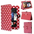 "Swees� New Kindle Fire HD Premium Folio Case / Cover and Flip Stand for the New Kindle Fire HD 7"" Tablet 16GB or 32GB (25 Oct 2012 Version) with Built-in Magnet for Sleep / Wake Feature, Includes Screen Protector and Stylus Pen (Red with white Dots)"