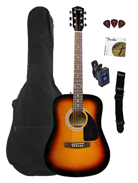 Fender FA-100 Dreadnought Acoustic Guitar Bundle with Gig Bag