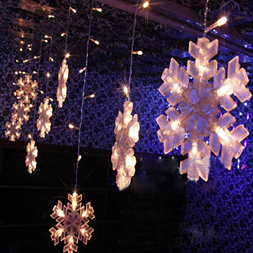 Hikong Xmas 3m * 0.75m 132 Led Snowflake Curtain String Lights Christmas Wedding Xmas Party Holiday Ornament String Light Backdrop Fairy Lamp ( Warm White)
