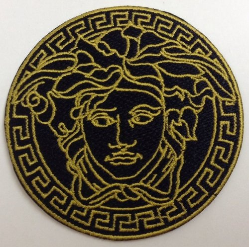 """Medusa Iron On Patch Embroidered 3"""" X 3"""" Black & Gold front-320224"""