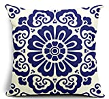Blue and White Porcelain Flower Cotton Linen Throw Pillow Case Cushion Cover Home Sofa Decorative 18 X 18 Inch