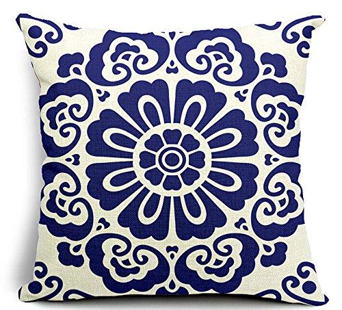 Porcelain Blue Decorative Pillows : Blue Porcelain Flower Cotton Linen Throw Pillow Case Cushion Cover Home Sofa Decorative 18 X 18 ...