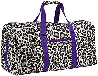 World Traveler Purple Animal Print Gym Duffle Bag 21-inch