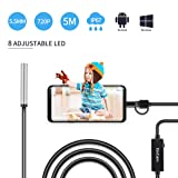 USB Endoscope, KinCam 3 in 1 Semi-Rigid USB Borescope 1200P HD with 5.5mm Waterproof Snake Camera with 6 Adjustable Led for Android Smart Phone, Tablet, PC & MacBook (5M / 16.5FT) (Color: Black, Tamaño: 5M / 16.5FT)