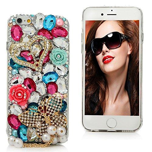 iPhone 6 6s Custodia Trasparente Cristallo Strass Cover 3D - Mavis's Diary Custodia duro del PC di Plastica Estremamente sottile - Progettazione Amore e fiori
