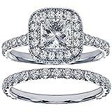 2.42 CT TW Pave Set Diamond Encrusted Princess Cut Engagement Bridal Set in 14k White Gold - Size 7