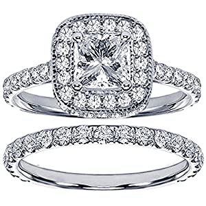 2.42 CT TW Pave Set Diamond Encrusted Princess Cut Engagement Bridal Set in 14k White Gold - Size 7