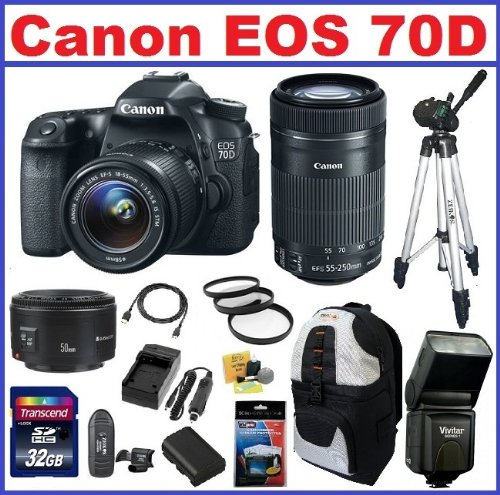 Canon Eos 70D Dslr Camera With 3 Canon Lenses Pro Pack: Includes - Canon Ef-S 18-135Mm F/3.5-5.6 Stm Lens (Usa Warranty)- Canon Ef-S 55-250Mm F/4-5.6 Is Stm Lens - Canon Ef 50Mm F1.8 Ii Autofocus Lens, Also Includes Backpack, Spare Battery & Travel Charge