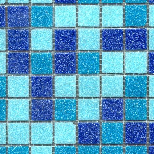 Glasmosaik mix hellblau/blau/dunkelblau 20x20 (1 Matte)