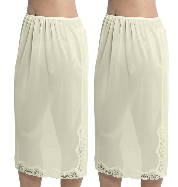 2 Pack Womens Damen Unterrock Slip mit Lace Trim 100 % Polyester resistentes Cling, 29 Zoll Länge (73cms), verschiedene Farben & Größen