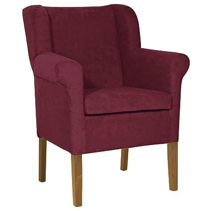 M24 705.63 Sessel Lexa, 88 x 60 x 64 cm, Buche massiv, Beizton, Bezug, nussbaum dunkel / weinrot